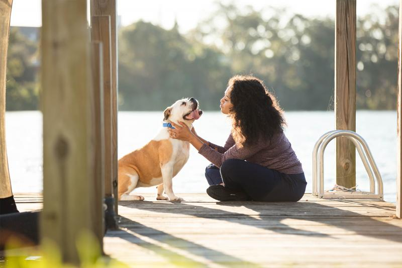 Woman with Her Dog on a Dock