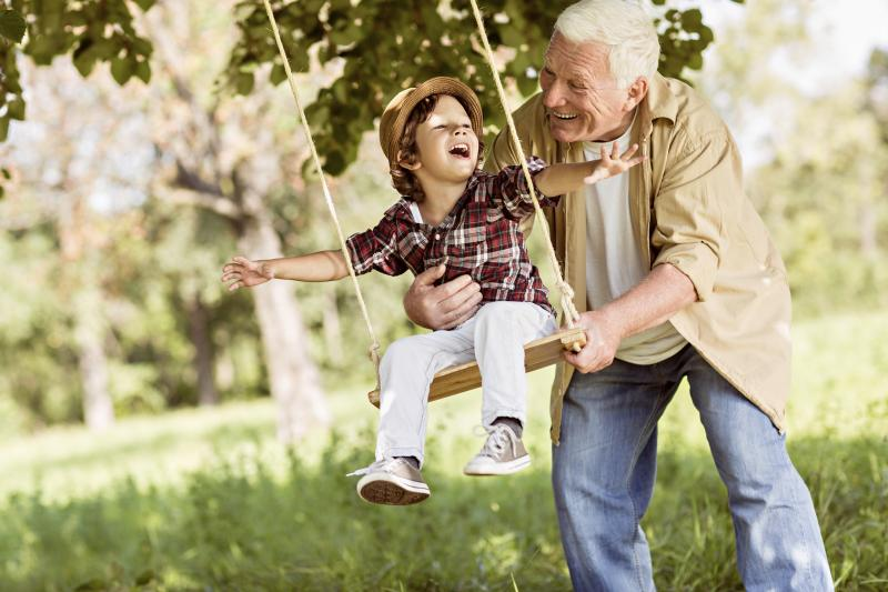 Grandfather pushes grandson on a tree swing