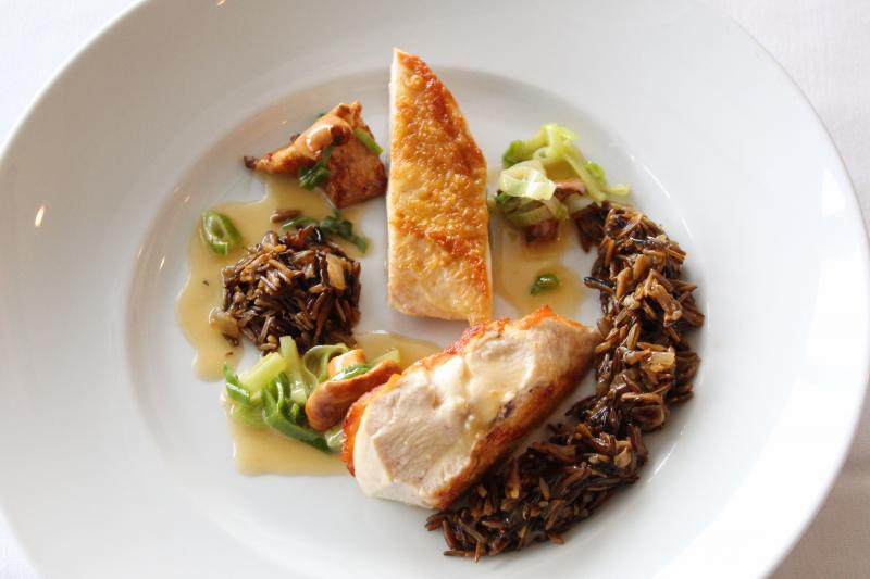 Pan-Roasted Chicken Breast with wild rice, leeks and mushrooms