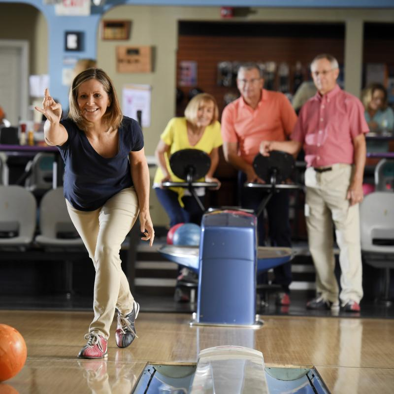 Bowling night with her friends.